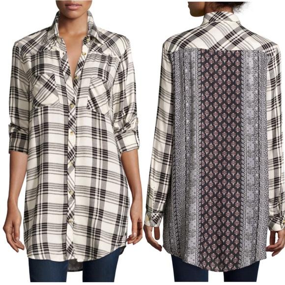 9536e0adc75 Tolani Tina Plaid Mixed Print Tunic Shirt Dress. M_5b377dc50cb5aaccbc4396b8